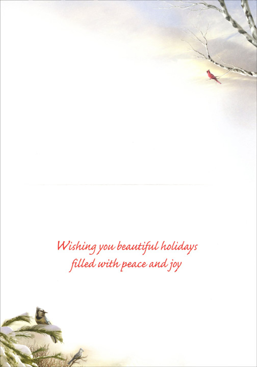 Christmas Morning Evergreen (1 card/1 envelope) - Christmas Card  INSIDE: Wishing you beautiful holidays filled with peace and joy