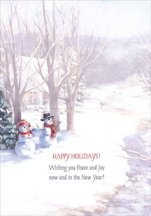 Snow Couple (18 cards & 18 envelopes) Boxed Christmas Cards  INSIDE: HAPPY HOLIDAYS! Wishing you Peace and Joy now and in the New Year!