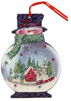 Snowman Snowglobe Glitter Keepsake Ornament (12 cards/12 envelopes) - Boxed Christmas Cards  INSIDE: Warm wishes for Happy Holidays!