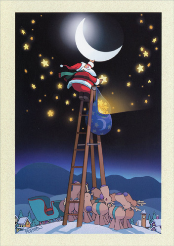 Santa on Ladder to Moon (1 card/1 envelope) Christmas Card - FRONT: No Text  INSIDE: Create a dream, believe, and it is yours! Merry Christmas and a joyous new year