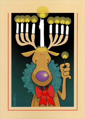 Reindeer Menorah Antlers (1 card/1 envelope) - Hanukkah Card - FRONT: No Text  INSIDE: May the lights of Hanukkah shine brightly and bring you peace