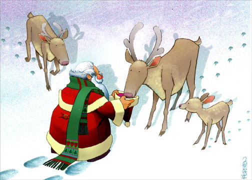 Santa Feeding Deer (1 card/1 envelope) - Christmas Card - FRONT: No Text  INSIDE: Christmas is a perfect time for caring and sharing with special friends and family.  Happy Holidays!