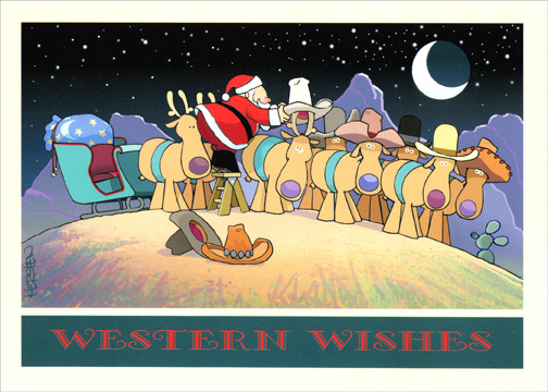 Western Wishes (1 card/1 envelope) Warm Weather Christmas Card - FRONT: Western Wishes  INSIDE: For the happiest of holidays