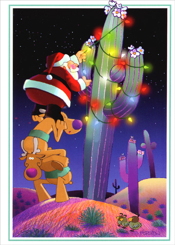 Santa Decorating Cactus (1 card/1 envelope) - Christmas Card - FRONT: No Text  INSIDE: May fun and happiness fill your holidays.