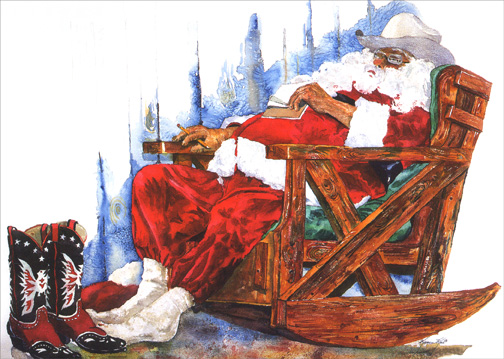 Sleeping Western Santa (1 card/1 envelope) Christmas Card - FRONT: No Text  INSIDE: Santa's worked hard on his list.. Here's hoping you're on it!  Merry Christmas.. Happy New Year