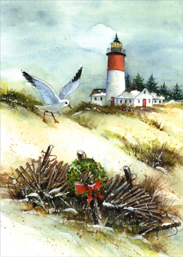 Seagull and Lighthouse (1 card/1 envelope) Christmas Card - FRONT: No Text  INSIDE: Let the quiet joys and peaceful times of Christmas fill your heart throughout the New Year.