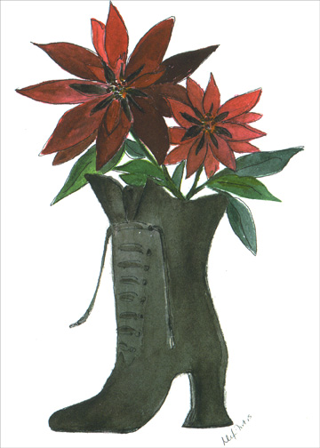 Old Fashioned Boot with Poinsettias (1 card/1 envelope) - Holiday Card - FRONT: No Text  INSIDE: Wishing you a holiday filled with happy memories of the past and newly found joys for the future