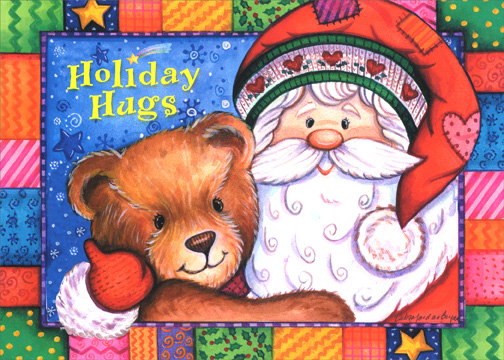 Holiday Hugs (1 card/1 envelope) Christmas Card - FRONT: Holiday Hugs  INSIDE: Sending you special wishes for a wonderful holiday season and the best New Year ever