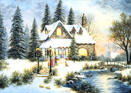 Old fashioned house scene holiday card by lpg greetings m4hsunfo