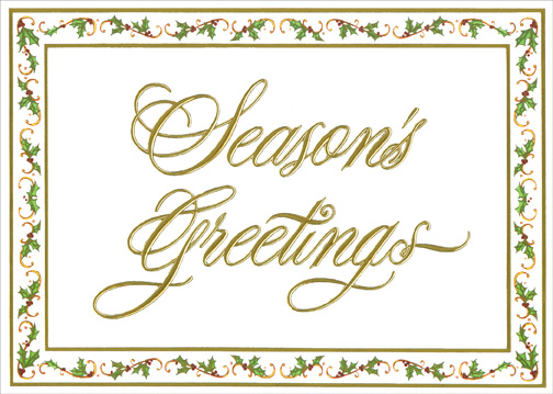 Gold Season's Greetings with Mistletoe (1 card/1 envelope) - Holiday Card - FRONT: Season's Greetings  INSIDE: Wishing you peace and happiness during the holidays and throughout the coming year