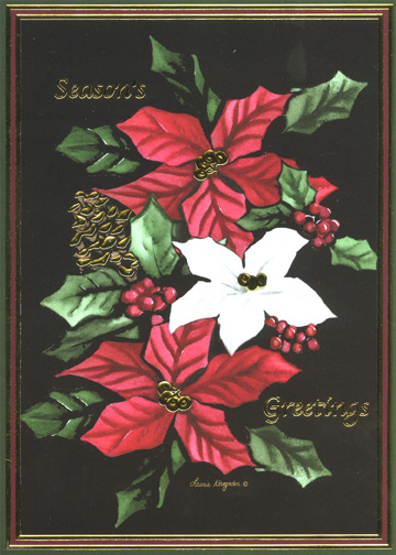 Season's Greetings Poinsettias (16 cards & envelopes) Boxed Holiday Cards - FRONT: Season's Greetings  INSIDE: May the spirit of the holiday season bring you happiness and peace.