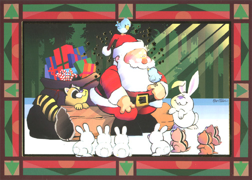 Santa with Forest Animals (1 card/1 envelope) Christmas Card - FRONT: No Text  INSIDE: May your heart be filled with the magic and wonder of the season. Merry Christmas - Happy New Year