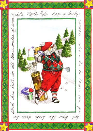 Striped Sock Santa (1 card/1 envelope) - Christmas Card - FRONT: The North Pole has a lovely course, where Santa Claus can go.  But how the heck does he find his ball, in all those miles of snow?  INSIDE: Hope you have a wonderful holiday and many happy rounds in the year to come