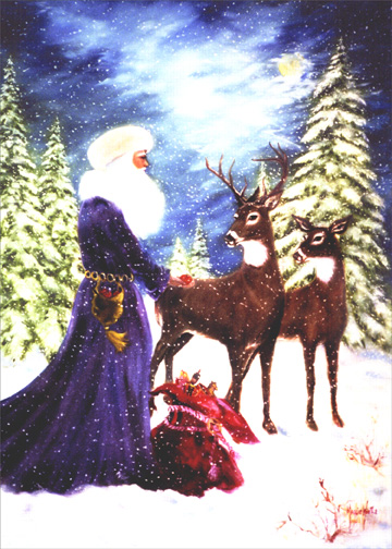 Santa with Deer (16 cards w/ envelopes) Boxed Christmas Cards - FRONT: No Text  INSIDE: May the magic and wonder of Christmas time bring joy to you now and in the coming year.