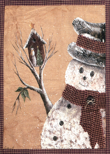 Birdhouse Snowman (1 card/1 envelope) Christmas Card - FRONT: No Text  INSIDE: May this Christmas be all that you wish for.
