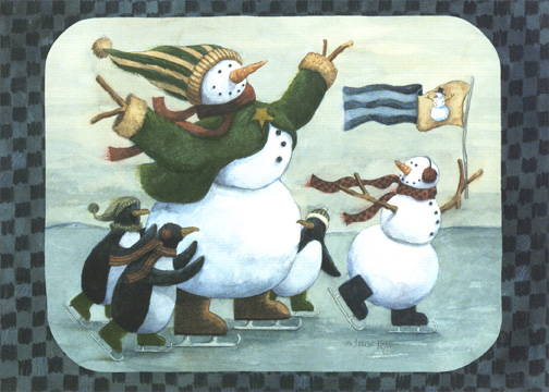 Ice Skating Snowmen & Penguins (1 card/1 envelope) Christmas Card - FRONT: No Text  INSIDE: Christmas magic is possible with a little help from special friends like you.  Merry Christmas!