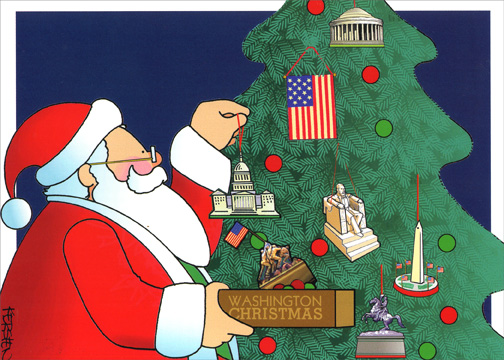 Decorating Washington Xmas Tree (1 card/1 envelope) - Christmas Card - FRONT: Washington Christmas  INSIDE: Have a Monumental Christmas