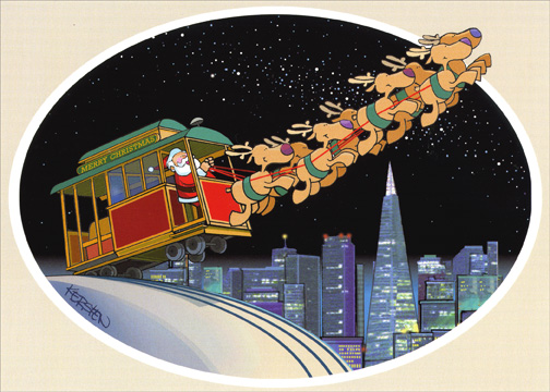 San Fran Trolly Takeoff (1 card/1 envelope) San Francisco California Christmas Card - FRONT: No Text  INSIDE: May the magic of Christmas be yours