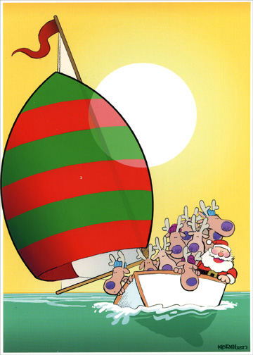 Red Green Sail (1 card/1 envelope) Warm Weather Boat / Nautical Christmas Card - FRONT: No Text  INSIDE: Wishing you boatloads of holiday fun