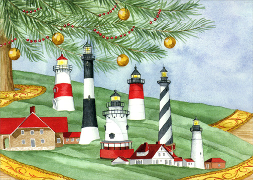 6 Lighthouses by Tree (1 card/1 envelope) - Holiday Card - FRONT: No Text  INSIDE: May the wonder and joy of the holiday season bring happiness to you and to those you love.