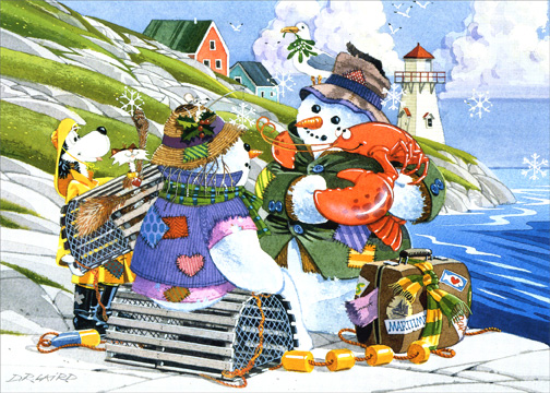 Lobstering Snowman (18 cards with envelopes) - Boxed Holiday Cards - FRONT: No Text  INSIDE: May your blessings be bountiful during the holiday season and throughout the New Year.