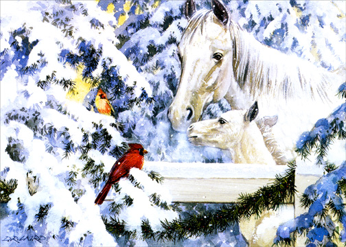 Foal with Birds (1 card/1 envelope) - Holiday Card - FRONT: No Text  INSIDE: Wishing you a world of peace and love this holiday season