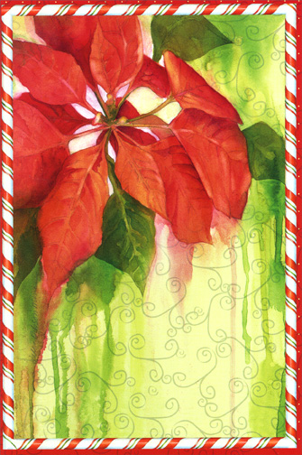 Candy Border Poinsettia (1 card/1 envelope) - Holiday Card - FRONT: No Text  INSIDE: Blank Inside