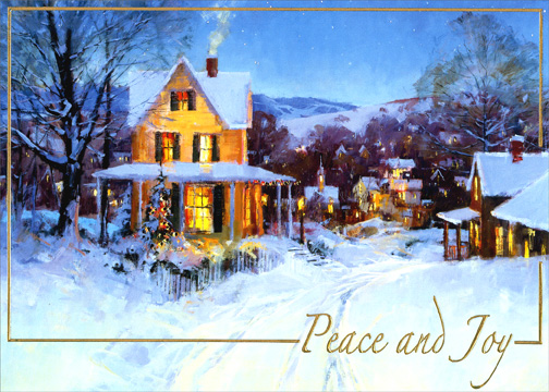 Peace and Joy (1 card/1 envelope) - Holiday Card - FRONT: Peace and Joy  INSIDE: May the quiet peace and joy of the season warm your heart and your home.