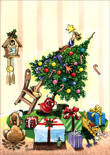 Easy Does It (1 card/1 envelope) Funny Christmas Card - FRONT: No Text  INSIDE: Merry Christmas and Happy New Year