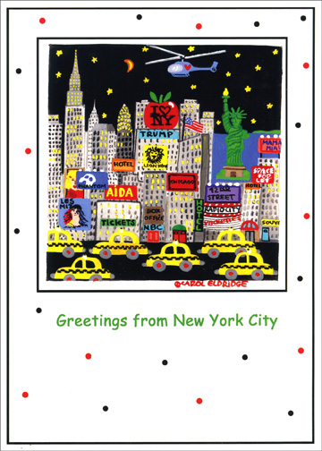 New York Taxis (18 cards & 18 envelopes) Boxed Holiday Cards - FRONT: Greetings from New York City  INSIDE: Celebrate the spirit of the season and have a Happy New Year!