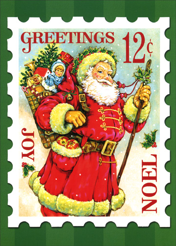 Santa Stamp (1 card/1 envelope) Christmas Card - FRONT: Greetings 12� Joy Noel  INSIDE: Sending you enough good cheer to last the whole new year - Merry Christmas - Happy New Year