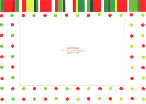 Dots & Striped Photo Holder (12 cards & 12 envelopes) - Boxed Christmas Cards  INSIDE: All the best to you and yours - Holiday Hugs - Joy and Laughter - Peace and Love - Family and Friends - Cheers - Happy Holidays - Warm Wishes - Season's Greetings