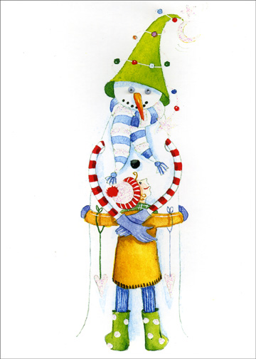 Hugging Snowman (12 cards & 12 envelopes) Handmade Boxed Holiday Cards - FRONT: No Text  INSIDE: May the holidays bring LOVE & JOY to you and to those you love!