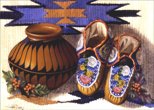 Pot and Moccasins (18 cards & 18 envelopes) Boxed Holiday Cards - FRONT: No Text  INSIDE: May your holidays be filled with special treasures that will bring you a lifetime of happiness.