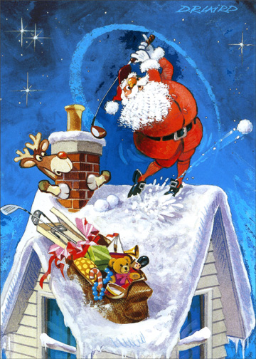 Roof Top Tee Off (1 card/1 envelope) Christmas Card - FRONT: No Text  INSIDE: May your every wish come true this Christmas.