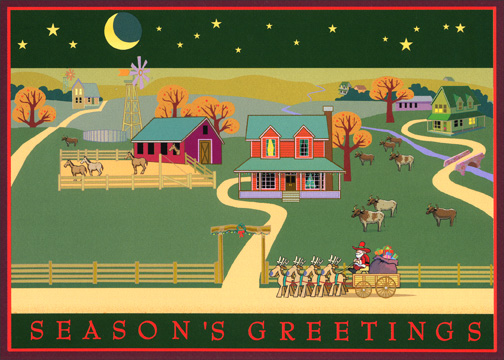 Season's Greetings Ranch (16 cards & 16 envelopes) Western Boxed Holiday Cards - FRONT: Season's Greetings  INSIDE: Warmest wishes from our place to yours