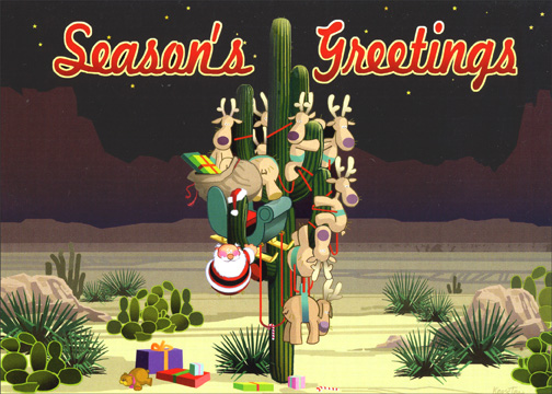 Saguaro Greetings (18 cards & 18 envelopes) Western Boxed Holiday Cards - FRONT: Season's Greetings  INSIDE: Warmest wishes for a happy holiday