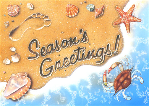 Season's Greetings Surf (1 card/1 envelope) - Holiday Card - FRONT: Season's Greetings  INSIDE: Warm wishes for a wonderful holiday and a very Happy New Year