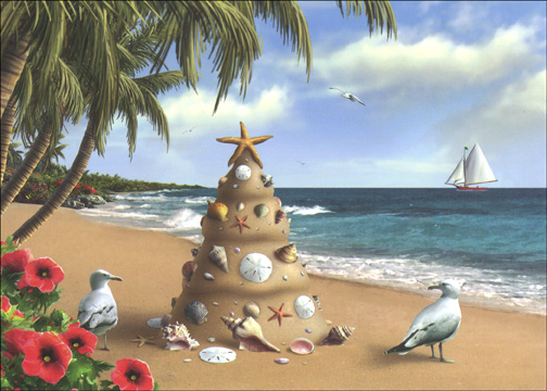 Holiday in Paradise (1 card/1 envelope) - Christmas Card - FRONT: No text  INSIDE: Warmest Wishes for a Beautiful Christmas and a Peaceful and Happy New Year