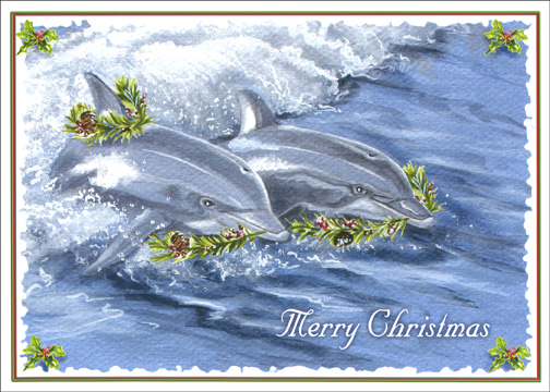 Holiday Dolphins (1 card/1 envelope) - Christmas Card - FRONT: Merry Christmas  INSIDE: Warmest wishes for happy holidays and peaceful times in the New Year
