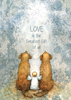 Love is the Greatest Gift : Jesus and Two Dogs Box of 18 Christmas Cards