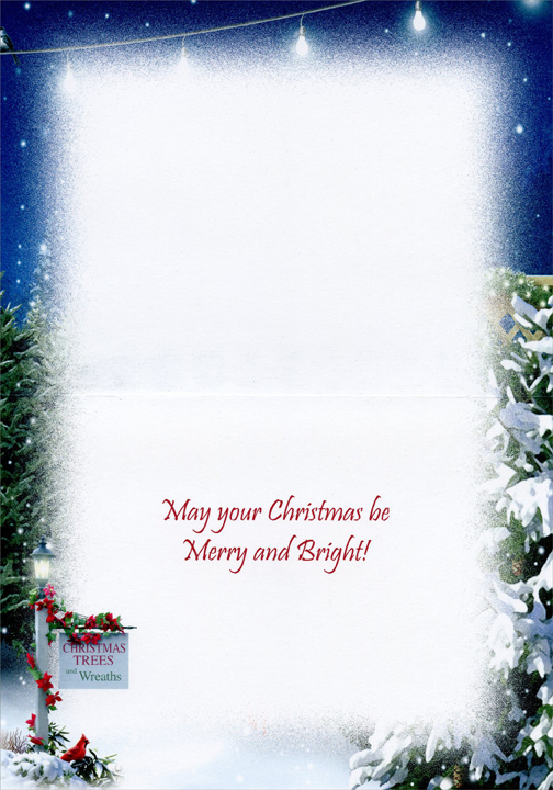 Tis the Season (1 card/1 envelope) Alan Giana Christmas Card - FRONT: Sign reads: [Christmas Trees and Wreaths]  INSIDE: May your Christmas be Merry and Bright!