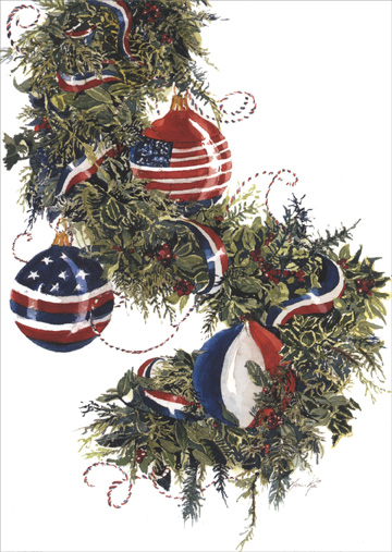 americas garland box of 18 patriotic christmas cards - Patriotic Christmas Cards