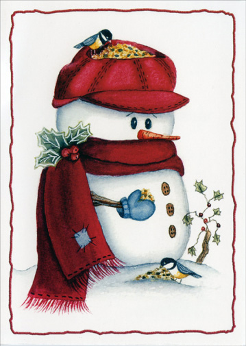 Birdseed Snowman (1 card/1 envelope) - Holiday Card - FRONT: No Text  INSIDE: Wishing you every happiness this holiday season