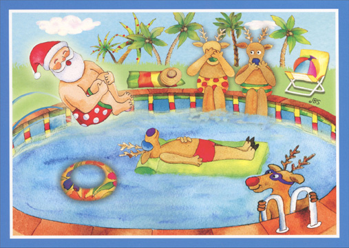 Cannonball Santa (1 card/1 envelope) - Christmas Card - FRONT: No Text  INSIDE: Wishing you a Christmas season filled with fun and good times!