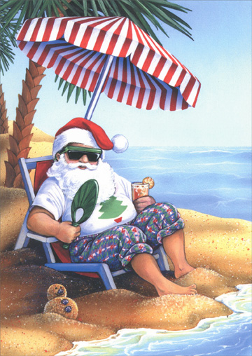 Santa on Beach (1 card/1 envelope) LPG Warm Weather Christmas Card - FRONT: No Text  INSIDE: Warmest thoughts and best wishes for a holiday filled with peace and happiness