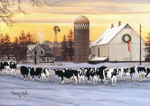 A Place Called Home (18 cards/18 envelopes) LPG Cow Boxed Holiday Cards - FRONT: No Text  INSIDE: Wishing you peaceful holidays filled with family traditions, shared joys, and forever memories..