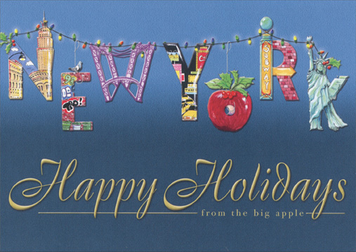 New York Greetings (18 cards/18 envelopes) - Boxed Holiday Cards - FRONT: Happy Holidays from the big apple  INSIDE: New York - Wishing you a wonderful holiday season and the happiest New Year ever!