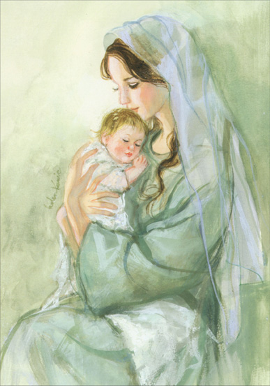 Green Madonna (1 card/1 envelope) LPG Religious Christmas Card - FRONT: No Text  INSIDE: May the blessings of Christmas bring peace, love and happiness to you and your loved ones.
