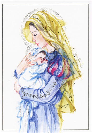 Madonna Foil (1 card/1 envelope) LPG Religious Christmas Card - FRONT: No Text  INSIDE: May God's most precious gift fill your holiday with peace and happiness.